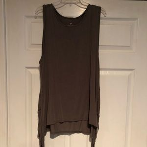 Olive green soft and sexy fringed tank, XL